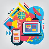 Επίπεδη απεικόνιση Μέσων Μαζικής Επικοινωνίας Στοκ Φωτογραφία