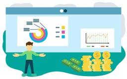 Επίπεδη απεικόνιση σχεδίου παρουσίασης πωλήσεων απεικόνιση αποθεμάτων