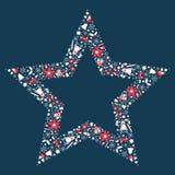 Επίπεδη απεικόνιση σύνθεσης αστεριών Χριστουγέννων διανυσματική απεικόνιση