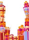 Επίπεδη απεικόνιση υποβάθρου ύφους όγκου - βουνό των δώρων στα φωτεινά κιβώτια με τις κορδέλλες και τα διάφορα πλαίσια συστάσεων ελεύθερη απεικόνιση δικαιώματος