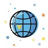 Επίπεδη απεικόνιση ύφους τέχνης γραμμών Παγκόσμιες ανάπτυξη εφαρμογών, επιχειρηματικό πεδίο και πληροφορίες Εικονίδια και στοιχεί Στοκ Φωτογραφίες