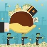 Επίπεδη απεικόνιση on_8_business, δάνεια, φόροι, και χρέος zombie κοινωνικό πρόβλημα ατόμων ολόκληρης της παγκόσμιας εξάρτησης στ διανυσματική απεικόνιση