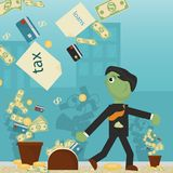 Επίπεδη απεικόνιση on_5_business, δάνεια, φόροι, και χρέος zombie κοινωνικό πρόβλημα ατόμων ολόκληρης της παγκόσμιας εξάρτησης στ απεικόνιση αποθεμάτων