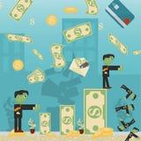 Επίπεδη απεικόνιση on_2_business, δάνεια, φόροι, και χρέος zombie κοινωνικό πρόβλημα ατόμων ολόκληρης της παγκόσμιας εξάρτησης στ διανυσματική απεικόνιση
