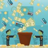 Επίπεδη απεικόνιση on_1_business, δάνεια, φόροι, και χρέος zombie κοινωνικό πρόβλημα ατόμων ολόκληρης της παγκόσμιας εξάρτησης στ ελεύθερη απεικόνιση δικαιώματος