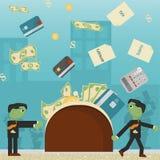 Επίπεδη απεικόνιση on_3_business, δάνεια, φόροι, και χρέος zombie κοινωνικό πρόβλημα ατόμων ολόκληρης της παγκόσμιας εξάρτησης στ απεικόνιση αποθεμάτων