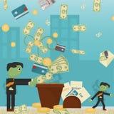 Επίπεδη απεικόνιση on_3_business, δάνεια, φόροι, και χρέος zombie κοινωνικό πρόβλημα ατόμων ολόκληρης της παγκόσμιας εξάρτησης στ διανυσματική απεικόνιση