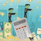 Επίπεδη απεικόνιση on_6_business, δάνεια, φόροι, και χρέος zombie κοινωνικό πρόβλημα ατόμων ολόκληρης της παγκόσμιας εξάρτησης στ απεικόνιση αποθεμάτων
