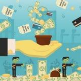 Επίπεδη απεικόνιση on_10_business, δάνεια, φόροι, και χρέος zombie κοινωνικό πρόβλημα ατόμων ολόκληρης της παγκόσμιας εξάρτησης σ ελεύθερη απεικόνιση δικαιώματος