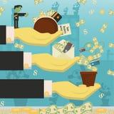 Επίπεδη απεικόνιση on_13_business, δάνεια, φόροι, και χρέος zombie κοινωνικό πρόβλημα ατόμων ολόκληρης της παγκόσμιας εξάρτησης σ διανυσματική απεικόνιση