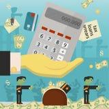 Επίπεδη απεικόνιση on_9_business, δάνεια, φόροι, και χρέος zombie κοινωνικό πρόβλημα ατόμων ολόκληρης της παγκόσμιας εξάρτησης στ απεικόνιση αποθεμάτων