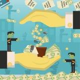 Επίπεδη απεικόνιση on_14_business, δάνεια, φόροι, και χρέος zombie κοινωνικό πρόβλημα ατόμων ολόκληρης της παγκόσμιας εξάρτησης σ διανυσματική απεικόνιση