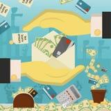 Επίπεδη απεικόνιση on_16_business, δάνεια, φόροι, και χρέος zombie κοινωνικό πρόβλημα ατόμων ολόκληρης της παγκόσμιας εξάρτησης σ ελεύθερη απεικόνιση δικαιώματος