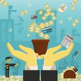 Επίπεδη απεικόνιση on_18_business, δάνεια, φόροι, και χρέος zombie κοινωνικό πρόβλημα ατόμων ολόκληρης της παγκόσμιας εξάρτησης σ διανυσματική απεικόνιση