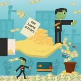 Επίπεδη απεικόνιση on_11_business, δάνεια, φόροι, και χρέος zombie κοινωνικό πρόβλημα ατόμων ολόκληρης της παγκόσμιας εξάρτησης σ ελεύθερη απεικόνιση δικαιώματος