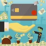 Επίπεδη απεικόνιση on_17_business, δάνεια, φόροι, και χρέος zombie κοινωνικό πρόβλημα ατόμων ολόκληρης της παγκόσμιας εξάρτησης σ ελεύθερη απεικόνιση δικαιώματος