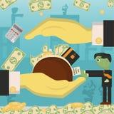 Επίπεδη απεικόνιση on_15_business, δάνεια, φόροι, και χρέος zombie κοινωνικό πρόβλημα ατόμων ολόκληρης της παγκόσμιας εξάρτησης σ απεικόνιση αποθεμάτων