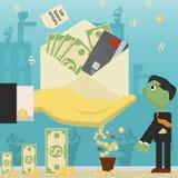 Επίπεδη απεικόνιση on_12_business, δάνεια, φόροι, και χρέος zombie κοινωνικό πρόβλημα ατόμων ολόκληρης της παγκόσμιας εξάρτησης σ διανυσματική απεικόνιση