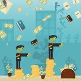 Επίπεδη απεικόνιση on_7_business, δάνεια, φόροι, και χρέος zombie κοινωνικό πρόβλημα ατόμων ολόκληρης της παγκόσμιας εξάρτησης στ διανυσματική απεικόνιση
