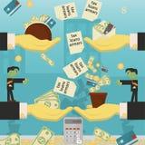 Επίπεδη απεικόνιση on_28_business, δάνεια, φόροι, και χρέος zombie κοινωνικό πρόβλημα ατόμων ολόκληρης της παγκόσμιας εξάρτησης σ διανυσματική απεικόνιση