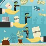 Επίπεδη απεικόνιση on_25_business, δάνεια, φόροι, και χρέος zombie κοινωνικό πρόβλημα ατόμων ολόκληρης της παγκόσμιας εξάρτησης σ ελεύθερη απεικόνιση δικαιώματος