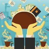 Επίπεδη απεικόνιση on_19_business, δάνεια, φόροι, και χρέος zombie κοινωνικό πρόβλημα ατόμων ολόκληρης της παγκόσμιας εξάρτησης σ απεικόνιση αποθεμάτων