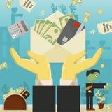 Επίπεδη απεικόνιση on_20_business, δάνεια, φόροι, και χρέος zombie κοινωνικό πρόβλημα ατόμων ολόκληρης της παγκόσμιας εξάρτησης σ απεικόνιση αποθεμάτων