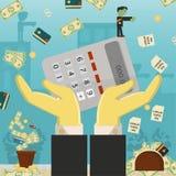 Επίπεδη απεικόνιση on_21_business, δάνεια, φόροι, και χρέος zombie κοινωνικό πρόβλημα ατόμων ολόκληρης της παγκόσμιας εξάρτησης σ ελεύθερη απεικόνιση δικαιώματος