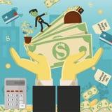 Επίπεδη απεικόνιση on_23_business, δάνεια, φόροι, και χρέος zombie κοινωνικό πρόβλημα ατόμων ολόκληρης της παγκόσμιας εξάρτησης σ διανυσματική απεικόνιση