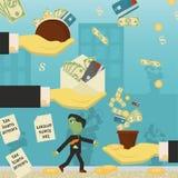 Επίπεδη απεικόνιση on_27_business, δάνεια, φόροι, και χρέος zombie κοινωνικό πρόβλημα ατόμων ολόκληρης της παγκόσμιας εξάρτησης σ απεικόνιση αποθεμάτων