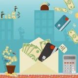 Επίπεδη απεικόνιση on_30_business, δάνεια, φόροι, και χρέος zombie κοινωνικό πρόβλημα ατόμων ολόκληρης της παγκόσμιας εξάρτησης σ διανυσματική απεικόνιση