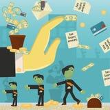 Επίπεδη απεικόνιση on_29_business, δάνεια, φόροι, και χρέος zombie κοινωνικό πρόβλημα ατόμων ολόκληρης της παγκόσμιας εξάρτησης σ απεικόνιση αποθεμάτων