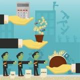 Επίπεδη απεικόνιση on_26_business, δάνεια, φόροι, και χρέος zombie κοινωνικό πρόβλημα ατόμων ολόκληρης της παγκόσμιας εξάρτησης σ απεικόνιση αποθεμάτων