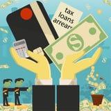 Επίπεδη απεικόνιση on_24_business, δάνεια, φόροι, και χρέος zombie κοινωνικό πρόβλημα ατόμων ολόκληρης της παγκόσμιας εξάρτησης σ ελεύθερη απεικόνιση δικαιώματος