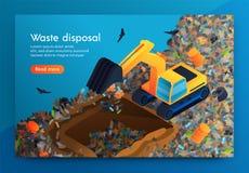 Επίπεδη διάθεση αποβλήτων προσγείωσης στην τεράστια απόρριψη απορριμάτων ελεύθερη απεικόνιση δικαιώματος