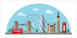 Επίπεδη διανυσματική έγχρωμη εικονογράφηση εικονικής παράστασης πόλης του Λονδίνου διανυσματική απεικόνιση