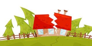 Επίπεδη διανυσματική σκηνή με το σπίτι που καταστρέφεται από το σεισμό, ρωγμή στο έδαφος, πράσινα δέντρα έλατου ξηρά καταστροφή φ απεικόνιση αποθεμάτων
