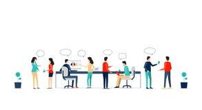 Επίπεδη διανυσματική συνεργασία εργασίας επιχειρησιακών ομάδων ελεύθερη απεικόνιση δικαιώματος