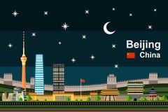 Επίπεδη εικονική παράσταση πόλης του Πεκίνου τη νύχτα Στοκ εικόνες με δικαίωμα ελεύθερης χρήσης