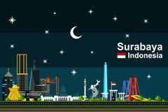 Επίπεδη εικονική παράσταση πόλης του Surabaya τη νύχτα Στοκ εικόνες με δικαίωμα ελεύθερης χρήσης
