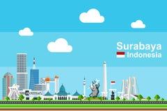 Επίπεδη εικονική παράσταση πόλης του Surabaya Στοκ εικόνα με δικαίωμα ελεύθερης χρήσης