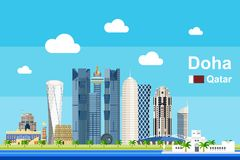 Επίπεδη εικονική παράσταση πόλης Doha Στοκ Εικόνες