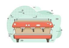 Επίπεδη επαγγελματική μηχανή καφέ Μηχανή καφέ χαρουπιού Εξοπλισμός εστιατορίων διανυσματική απεικόνιση