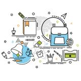 Επίπεδη ζωηρόχρωμη έννοια σχεδίου για την εκπαίδευση Ιδέα της παραγωγής να δημιουργήσει Στοκ Εικόνες