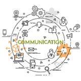 Επίπεδη ζωηρόχρωμη έννοια σχεδίου για την επικοινωνία Στοκ Φωτογραφίες