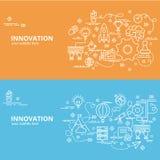Επίπεδη ζωηρόχρωμη έννοια σχεδίου για την καινοτομία Στοκ Φωτογραφίες