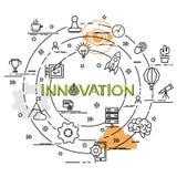 Επίπεδη ζωηρόχρωμη έννοια σχεδίου για την καινοτομία Στοκ εικόνες με δικαίωμα ελεύθερης χρήσης