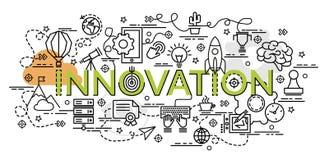 Επίπεδη ζωηρόχρωμη έννοια σχεδίου για την καινοτομία Στοκ Εικόνες
