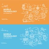 Επίπεδη ζωηρόχρωμη έννοια σχεδίου για την κινητή τεχνολογία Στοκ Φωτογραφία