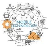 Επίπεδη ζωηρόχρωμη έννοια σχεδίου για την κινητή τεχνολογία Στοκ Φωτογραφίες